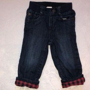 Baby Gap Buffalo Plaid Lined Jeans-(12-18mo)